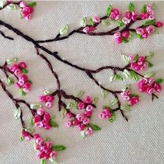 Wonderful Ribbon Embroidery Flowers by Hand Ideas. Enchanting Ribbon Embroidery Flowers by Hand Ideas. Creative Embroidery, Simple Embroidery, Learn Embroidery, Japanese Embroidery, Silk Ribbon Embroidery, Crewel Embroidery, Hand Embroidery Designs, Cross Stitch Embroidery, Embroidery Ideas