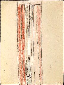 Louise Bourgeois -                                                             ink and crayon on paper                                  11,7/8x8,7/8 inches                                      Museum of Modern Art, NY.