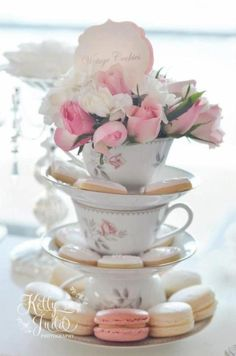 Bridal shower dessert display idea - vintage tea party bridal shower - tea cups with cookies, macaroons and flowers {Courtesy of Kara's Party Ideas} Bridal Shower Desserts, Tea Party Bridal Shower, Shower Party, Tea Party Wedding, Wedding Table, Wedding Reception, Elegant Bridal Shower, Diy Shower, Brunch Wedding