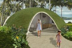 conc. shell homes made w/ inflatable rubber bladder as form work. interesting concept