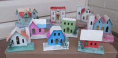 LOT OF 9 VINTAGE PUTZ CARDBOARD MICA GLITTER CHRISTMAS HOUSES JAPAN I remember having these when we first got married