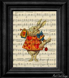 White rabbit on sheet music
