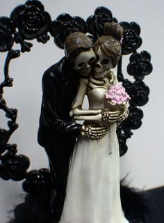 Day of the DEAD Halloween Wedding Cake Topper Funny Skeleton Bride ...