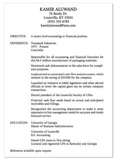 example of senior level accounting httpexampleresumecvorgexample - Sample Resume For Internship