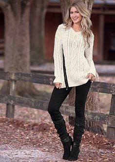 FRONT ZIPPER DETAIL SWEATER, SLIMMING STRETCH JEGGING, SLOUCHY LAYERED STRAP BOOT