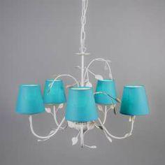 Lámpara de araña con 5 pantallas - ¡Cree su propia lámpara! Usted puede combinar la lámpara con muchas pantallas de diferentes colores y tamaños y así crear una lámpara de araña que se ajuste a lo que usted necesita