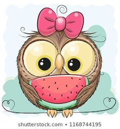 Cute cartoon owl girl with watermelon vector image on VectorStock Cute Owl Cartoon, Fruit Cartoon, Cartoon Owl Drawing, Cute Owl Drawing, Cartoon Pig, Owl Clip Art, Owl Art, Watermelon Vector, Owl Vector