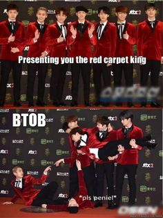 the red carpet kings are back~ | allkpop Meme Center btob also did this on asc as their pose ahaha I love them