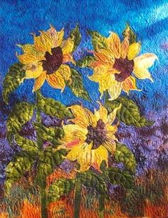 phil beaver quilter | PHIL BEAVER ---- French Lick, Indiana Sunflower Quilts, Sunflower Art, Sunflower Crafts, Sunflower Design, Thread Painting, Fabric Painting, Fabric Art, Landscape Art Quilts, Landscapes