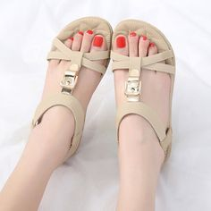 3e9b6d9c5a0a7 Metal Opened Toe Comfortable Slip On Flat Sandals Sandals For Sale