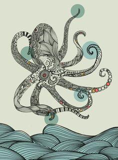 #Octopus illustration, #handdrawn by Rachel Russell