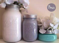 Colorful Painted Mason Jars, Wedding Centerpieces, Rustic Home Decor, Desk Accessories, Organization, Bathroom Decor, Painted Vase