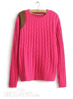 US$23.99 Comfortable Color Block Round Neckline Long Sleeves Leather Sweater. #Knitwear #Block #Round #Color