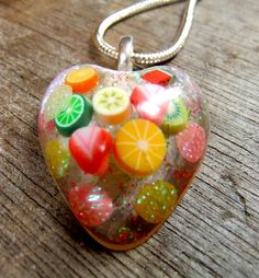 fruit candy resin necklace would defiinitely get this if found Uv Resin, Resin Ring, Resin Necklace, Diy Necklace, Resin Art, Resin Jewelry, Jewelry Crafts, Jewlery, Jewelry Ideas