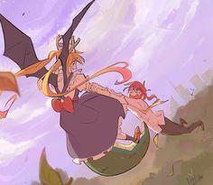 Kobayashi x Toor (Kobayashi-san-chi no Maid Dragon) Manga Anime, All Anime, Anime Love, Anime Art, Miss Kobayashi's Dragon Maid, Dragon Girl, Inuyasha, Yuri, Kobayashi San Chi No Maid Dragon