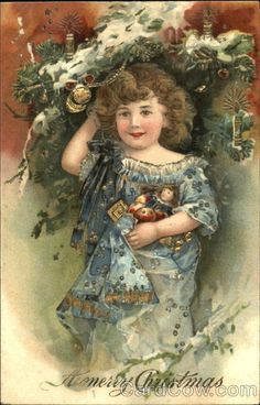 Christmas girl with lovely blue ruffled dress