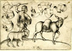 Israhel van Meckenem, 1465-1500 (c.)    The miller with donkey and foal; with two banderoles without text; slightly damaged, after Schongauer.