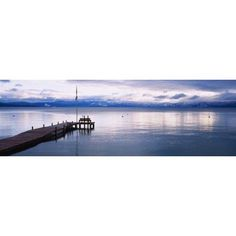Pier on the water Lake Tahoe California USA Canvas Art - Panoramic Images (36 x 12)