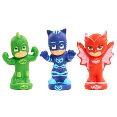 PJ Mask 3 Piece Bath Squirters Now your favorite heroes can enjoy bath time with you. With your very own PJ Masks bath squirters. Catboy, Gekko, and Owlette will tackle those no good germs * Owlette. Toddler Toys, Baby Toys, Kids Toys, Disney Junior, Biscuit, Sports Games For Kids, Pool Toys, Water Toys, Tyrannosaurus Rex