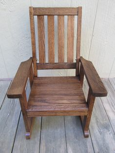 Childs Oak , Wood Rocking Chair (dark Walnut Finish