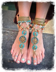 Yggdrasil TREE of life BAREFOOT SANDALS Turquoise Stone artisan tan crochet sandals foot jewelry Boho beach sandal Earthy Wedding Naturalist