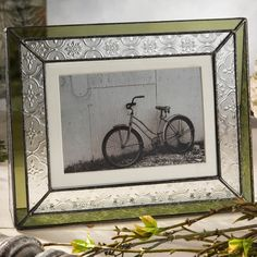 J Devlin Glass Art VINTAGE Pattern & Moss Green Stained Glass 4x6 Horizontal Picture Frame