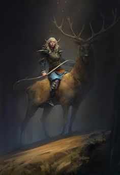 f High Elf Druid Leather Armor Longbow Elk Mount Night Hills Warrior female character by The Art Showcase lg Fantasy Concept Art, Fantasy Character Design, Fantasy Artwork, Character Art, Elves Fantasy, Fantasy Races, Dungeons And Dragons Characters, Fantasy Characters, Fantasy Creatures