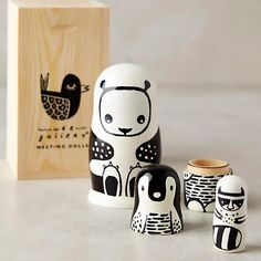 Black and White Nesting Dolls - with box