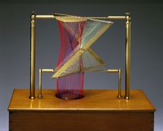 "Hyperboloid and Asymptotic Cone, string surface model, 1872. ""This is one of a large set of ruled surface models made by Fabre de Lagrange of Paris in 1872, following designs introduced in the early 19th century. They illustrate surfaces which can be traced out in space by the movement of a straight line. This model shows a hyperboloid of one sheet with its asymptotic cone. The tangent plane to the cone is also drawn."""