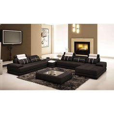 Divani Casa 5005D Modern Black and White Bonded Leather Sectional Sofa w/ Coffee Table