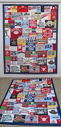 CUTE! Onesie blanket quilt with all those cute lil' baby t-shirts! I need to do this with my baby clothes! jellybeanquilts.com