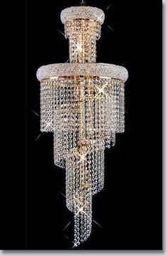 Spiral Collection Large Crystal Chandelier - Available at GrandLight.com