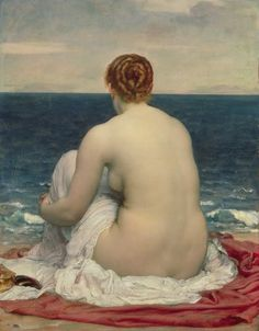 Frederic Leighton, Psamanthe, 1880 | love the subtle pink in the sky that sets up the pink in her skin....Plus she's a redhead...what can I say?