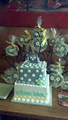 Owl cake and cookies from Stacey's Sweets