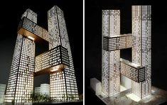 """Espectaculares torres residenciales """"Cross Towers"""", en el Distrito de Negocios de Yongsan en Seúl, capital de Corea del Sur, diseñado por BIG."""