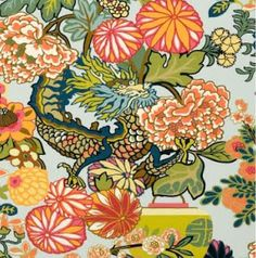 green, sage, coral, peach, gold, apple. Of course a Schumacher staple, Chiang Mai Dragon fabric