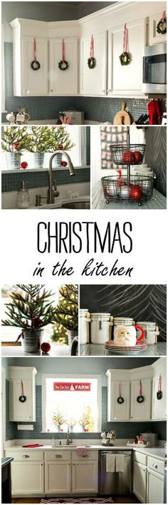 Christmas in the Kitchen. I love the wreaths on the cabinet doors.