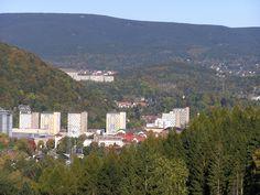 Blick zur Stadtmitte - im Hintergrund der Große Beerberg mit 982 m der höchste Berg Thüringens