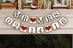 Frete Grátis 1 X New Golden Lado Personalizado Data Sinal de Casamento Decoração Aniversário Suprimentos Bunting Bandeira do Save The Date