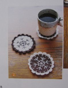 Fun wool coasters that are embroidered. Another Christmas idea with hot chocolate mix?