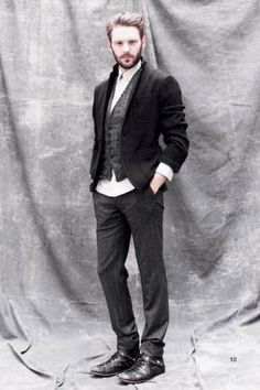Grey and Black:  More casual Orsino--this look and a cape?