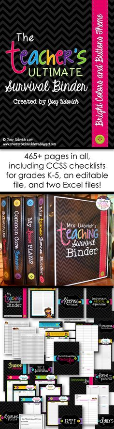 pages of ORGANIZATION for your classroom! This product comes in both a PDF (beautiful for printing) and an editable Power Point. PLUS all of the CCSS for grades and completely editable excel files for lesson planning and grade book options! Teacher Binder, Teacher Tools, Teacher Hacks, Teacher Resources, Teacher Planner, Teacher Survival, Teacher Stuff, Classroom Organisation, Teacher Organization