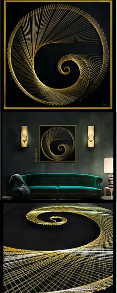 """Beautiful """"Golden section"""" string art in gold and black. The golden section is the universal symbol of harmony and natural perfection and this absolutely stunning piece of art will add glamour to your home decor. #stringart #ad #wallart #walldecor #homedecor #officedecor #gold #black #harmony #perfect"""