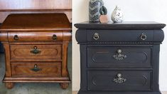 Τεχνική Παλαίωσης Επίπλων χωρίς τρίψιμο-γυαλόχαρτο Nightstand, Dresser, Antiques, Table, Furniture, Home Decor, Antiquities, Powder Room, Antique