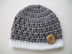 Baby Boy Hat, Crochet Baby Hat, Baby Boy, Toddler Hat, Baby Boy Beanie, Grey White, Photo Prop, Hat with Button, Newborn Hat, Baby Beanie
