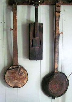 2 old country banjos and a fiddle - collection of Sharon Lytle.