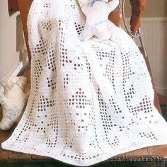 FAVORITE FILET Crochet Pattern BOOK Teddy Bear Baby Afghan Runners Cat Doily +++