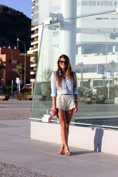 20 Ways to Style a Pair of LaceShorts | StyleCaster - bought a pair of these this winter in Mexico and have no idea how to wear them