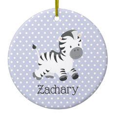 Cute Baby Zebra On Pastel Purple White Polkadots Ceramic Ornament #Custom #Christmas #Holiday #Decor #Ornaments