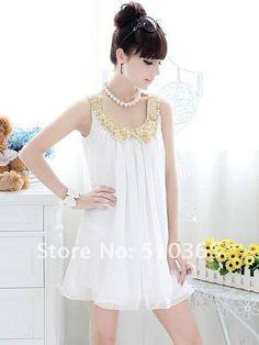 Vestido sonho branco com forro, costura dupla e gola bordada dourada - frete grátis